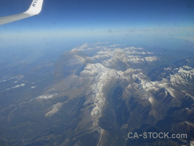 Aerial mountain snowcap pyrenees sky.