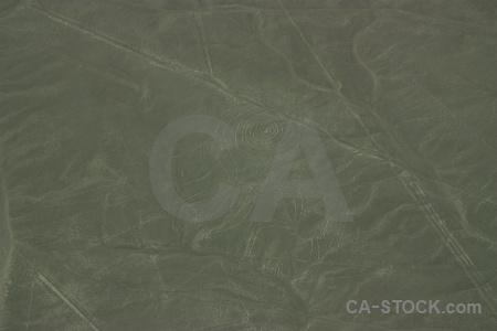 Aerial nazca lines south america geoglyph peru.