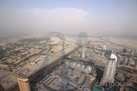 Aerial road cityscape burj khalifa skyscraper.