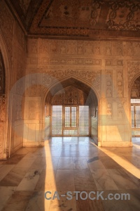 Agra unesco fort marble archway.