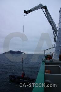 Akademik ioffe crane antarctica cloud hanging.