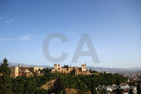 Alhambra granada spain europe blue.