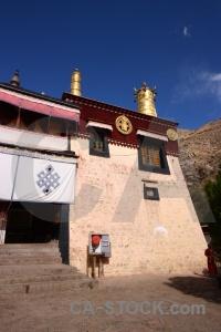 Altitude buddhism tibet drepung monastery symbol.