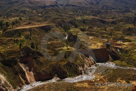 Altitude colca river andes valley landscape.