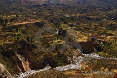 Altitude colca river andes valley landscape.