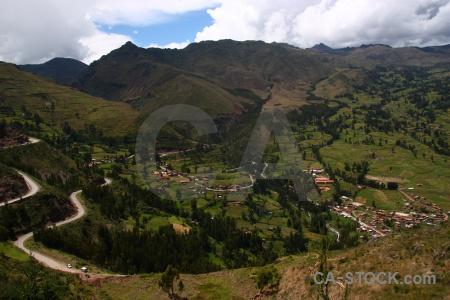 Altitude landscape grass sky urubamba valley.