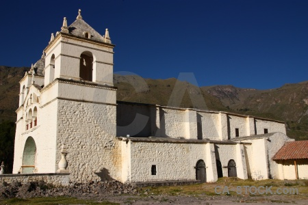 Altitude peru church colca valley south america.