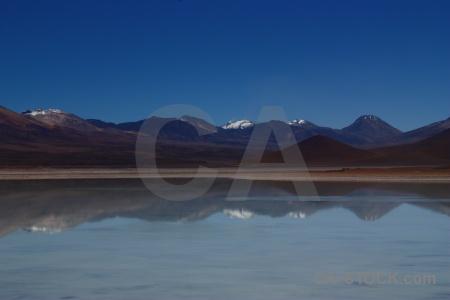 Altitude reflection snowcap andes landscape.