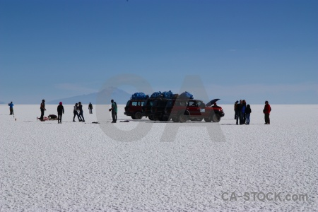 Altitude south america salt flat vehicle salar de uyuni.