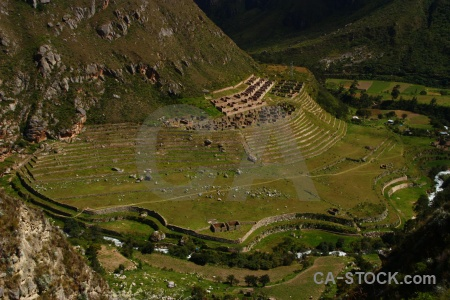 Andes inca trail rio cusichaca terrace ruin.