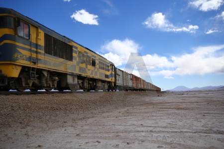 Andes mountain railway train salar de chiguana.