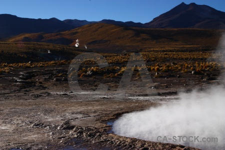Andes mountain steam atacama desert chile.