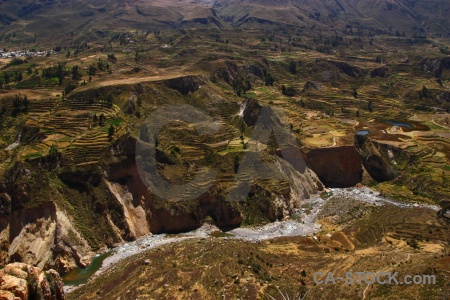 Andes qullqa river peru colca valley south america.