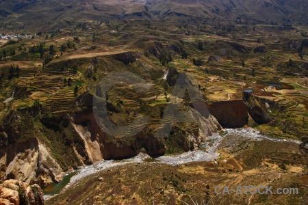 Andes qullqa river peru colca valley south america.