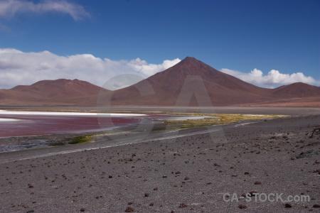 Andes salt lake mountain cloud landscape.