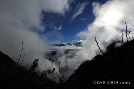Andes snowcap cloud inca trail south america.