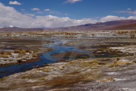 Andes snowcap lake landscape laguna chalviri.