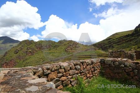 Andes wall valley bush sky.