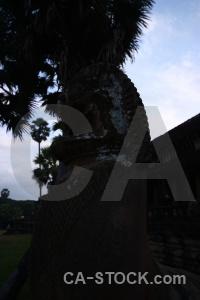 Angkor southeast asia silhouette temple sky.