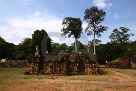 Angkor thom southeast asia lichen block sky.