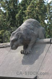 Animal statue gray green.