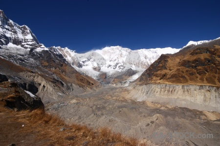Annapurna base camp south asia altitude mountain valley.