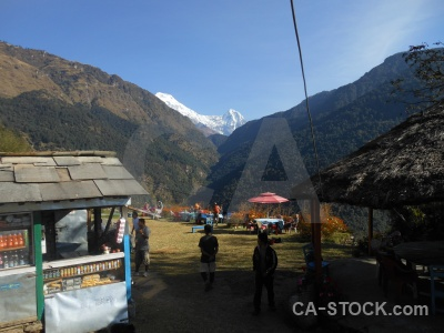 Annapurna sanctuary trek himalayan person mountain roof.