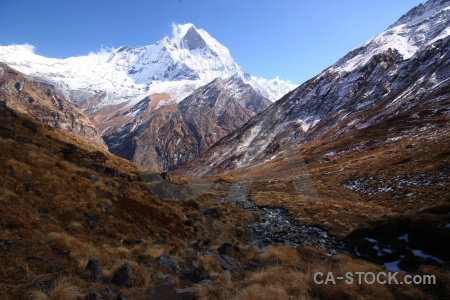 Annapurna sanctuary trek mountain south asia machhapuchchhre machapuchre.