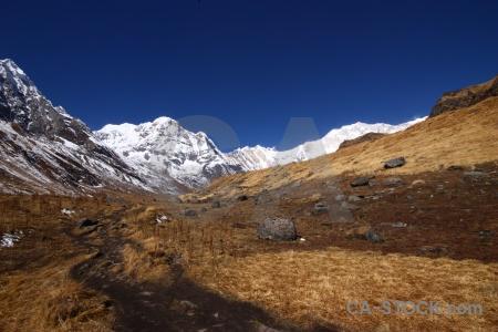 Annapurna sanctuary trek snowcap himalayan landscape south asia.