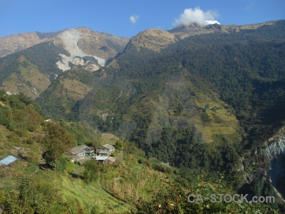 Annapurna sanctuary trek south asia sky cloud modi khola valley.