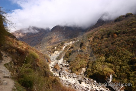 Annapurna sanctuary trek south asia tree nepal valley.