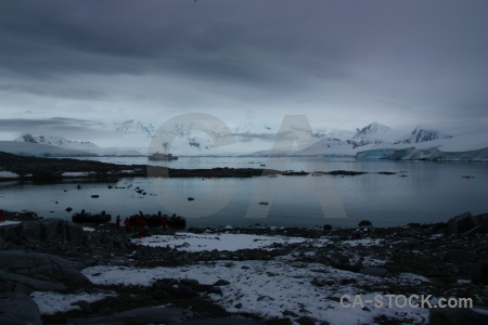 Antarctic peninsula neumayer channel cloud snowcap palmer archipelago.