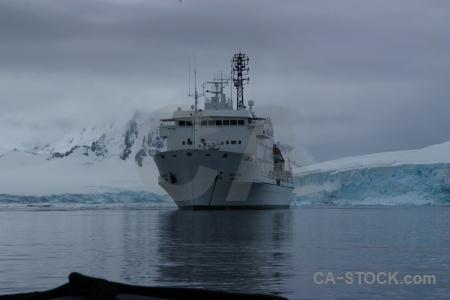 Antarctic peninsula snow boat antarctica cruise sky.