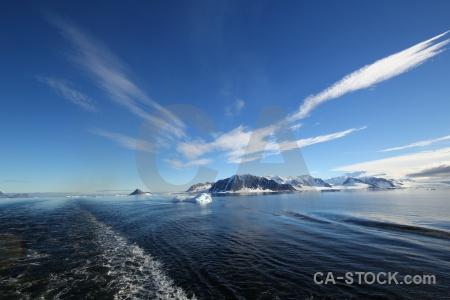 Antarctica cruise antarctica snowcap sky wake.