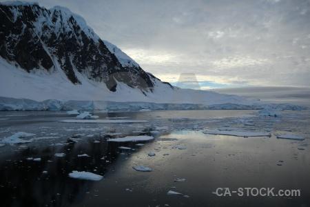 Antarctica cruise sky channel snowcap antarctic peninsula.