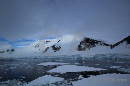 Antarctica south pole gunnel channel mountain sea ice.