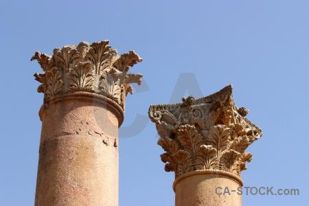 Archaeological column historic sky asia.