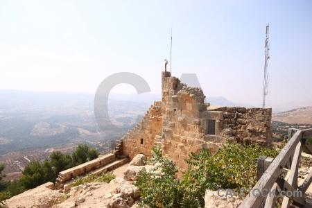 Archaeological sky stone ajloun castle.