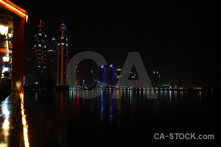 Asia canal reflection dubai building.