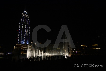 Asia fountain uae building night.