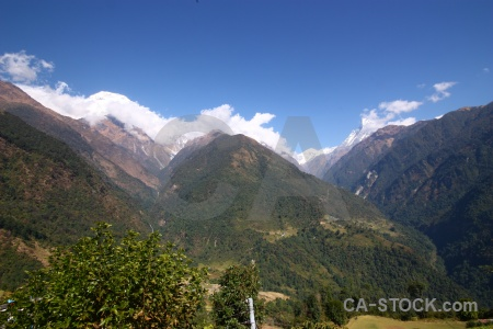 Asia landscape sky valley annapurna sanctuary trek.