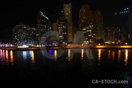Asia marina building canal night.