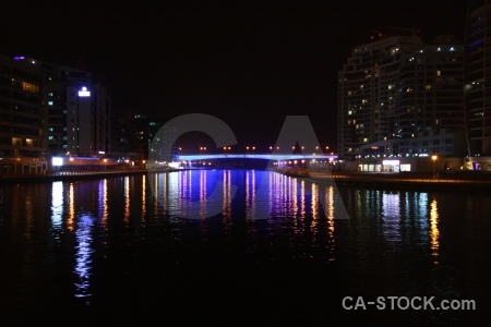 Asia night reflection canal uae.