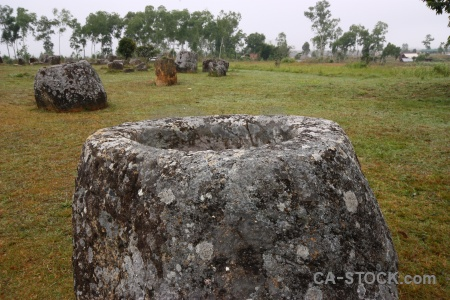 Asia phonsavan megalithic grass plain of jars.