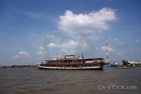Asia vehicle mekong river water cloud.