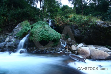 Asia waterfall river annapurna sanctuary trek boulder.