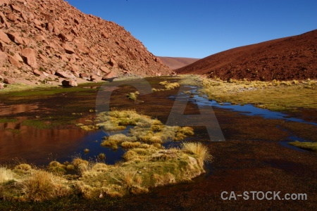 Atacama desert el tatio lake rock water.