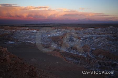 Atacama desert landscape salt rock sky.