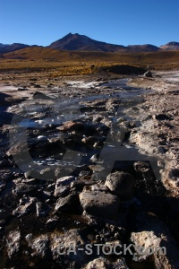 Atacama desert landscape steam mountain chile.