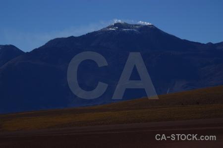Atacama desert landscape volcano south america smoke.